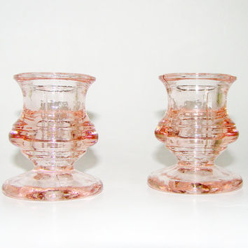 Pink Depression Glass Candle Holders
