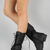 Coco-7 Round Toe Lace Up Military Mid Calf Boot