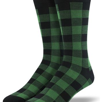 Men's Bamboo Buffalo Plaid Socks in Green