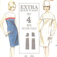 Butterick 3465 Sewing Pattern Retro Mod Mad Men Style 60s Color Block Dress High Yoke Slim Fit Uncut FF Bust 36