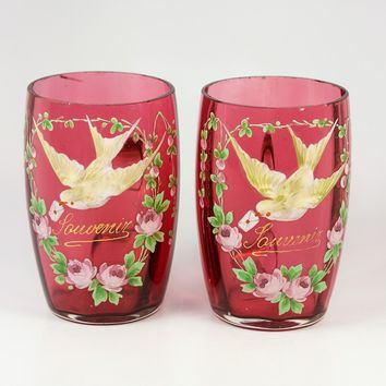 Pair of 4 Tall Antique French Cranberry Glass Souvenir Wine Cups, Enamel Doves, Legras
