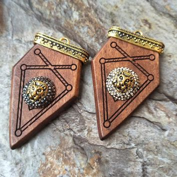 6pcs carved wood arrowhead Pendant,With lion's head Paved Pendants,For DIY Necklace Jewelry Finding P631