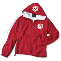 Monogrammed Solid Pullover Rain Jacket - Red