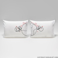 Love Has No Distance™ Matching Couple Pillow cases, Long Distance Relationships Gifts, His and Hers Gifts for Him, for Her, LDR Couples, I Miss You Gifts, Christmas Gifts, Valentine's Day, Anniversary