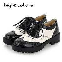 New 2018 Women Oxfords Platform Thick Heel Ladies High Quality oxford Leather Flat shoes for women in Autumn Spring Winter shoes