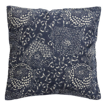 H&M - Linen Cushion Cover - Dark blue/Patterned
