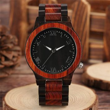 Deluxe Entire Sandalwood Watch Concise Roman Numerals Dial Business Men Wood Wristwatches Natural Minimalist Full Wooden Clock