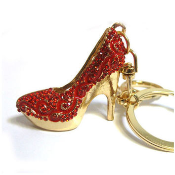 Red Stiletto Heel Rhinestone Keychain Purse Charm, Silver Crystal Shoe Keychain Bling, Gift For Women, Handbag Charm, Bling Car Accessory