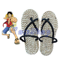 Anime One Piece Monkey D Luffy Cosplay Costume Straw Shoes Handmade Sandals Slippers