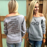 Harry potter Jumper glasses with book titles off the shoulder sweatshirt lightning bolt Scar womens  sweatshirt