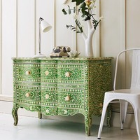 Green  Bone Inlay Curved 2 Drawer Chest