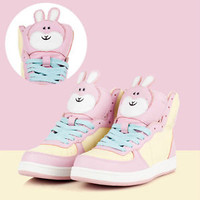 Cutie Kawaii Decora Pastel Candy Pink Bunny Rabbit Bunny Hi Top Sneaker Boot 35