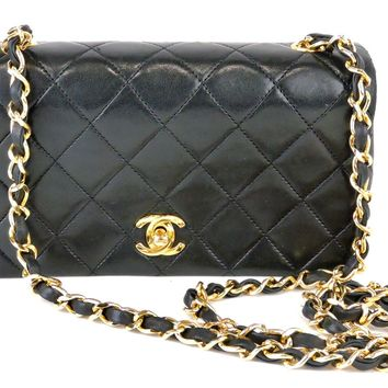 AUTH CHANEL CC BLACK QUILTED LAMBSKIN LEATHER MATELASSE CHAIN SHOULDER BAG MINI