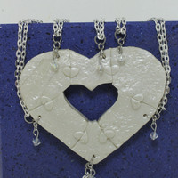 Heart Necklaces set of 6 Break Apart Best Friend Bridesmaid Jewelry Heart Puzzle Necklace Set Polymer Clay