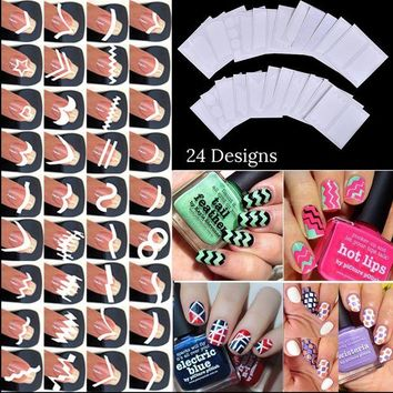 ONETOW 24pcs/set Nail Art Guide Tips Hollow Stencils Sticker French Manicure Template 3D Vinyls Decals Form Styling Tool