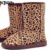 25cm Height Winter women snow boots for Lady Fahion Leopard Casual boot high quality flats girls