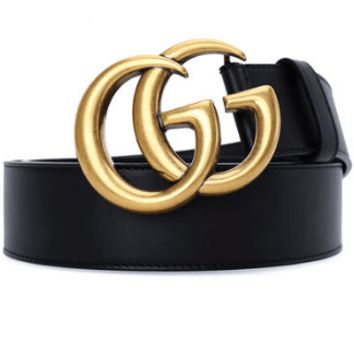 GUCCI Fashion Sexy Men Woman Smooth Buckle Leather Belt F