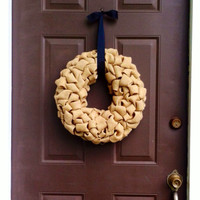 Fall Wreath Burlap for Front Door with Black Ribbon Hanger