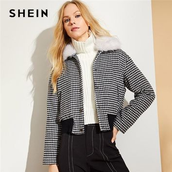 Trendy SHEIN Black and White Faux Fur Collar Houndstooth Jacket Casual Single Breasted Coats Women Autumn Streetwear Casual Jackets AT_94_13