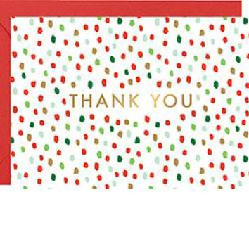 Holiday Confetti Flurry Thank You Cards with Foil