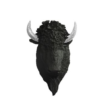 The Yellowstone | Large Buffalo Bison Head | Faux Taxidermy | Black + Silver Glitter Horns Resin