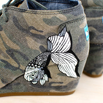 Hand Painted Toms Wedges - Elephant and Fish