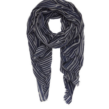 Grey and Navy Bella Ballou 'Play It Again' Printed Scarf