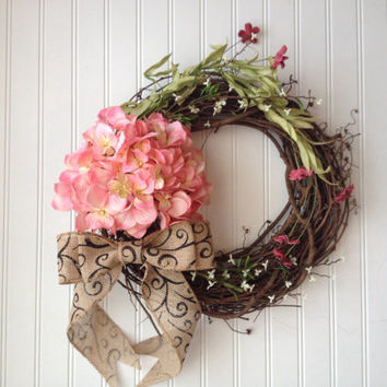Large pink hydrangea wreath with red wildflowers and white blossom flowers.Summer door wreath,summer wreath,summer decor
