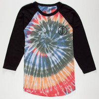 Captain Fin Tie Dye Mens Baseball Tee White/Black  In Sizes