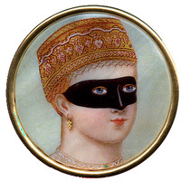 Lady in Mask Mother of Pearl Brooch