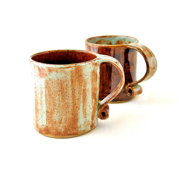 Ceramic Tea Cups - Hobbit Coffee Mugs in Mint Green Umber wash and Earth Brown (Set of two)