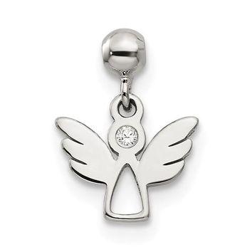 Sterling Silver Mio Memento CZ Dangle Angel Charm