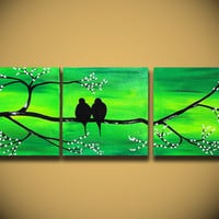 """Landscape Modern ORIGINAL Fine Art LOVE Birds Tree Branches 36"""" Contemporary Green Large Abstract Painting Handmade ready to hang Craft"""