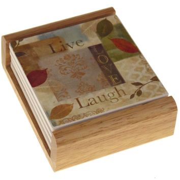 Counter Art Live Love Laugh Leaf Sentiment Stone Coasters Set 4 Wood Holder USA