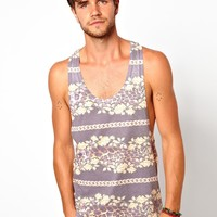 ASOS | ASOS Vest With Stripe Baroque Pattern And Extreme Racer Back at ASOS