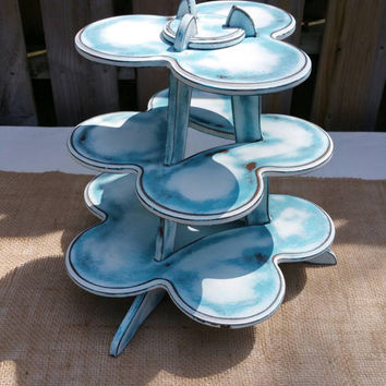 3 tier shelf, cupcake stand, home decor, upcycled, shabby chic stand, handpainted blue and wedding white, made in Canada, free shipping