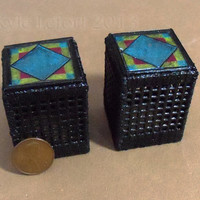 Miniature Stained Glass End Tables - Blue Diamond Pattern -Dollhouse Furniture