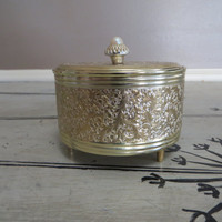 Gold Powder Compact Musical Powder Compact Musical Jewelry Box Trinket Box Gold Filigree Gold Decor Romantic Decor Maidens Prayer