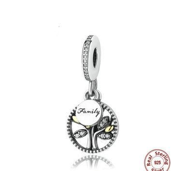 925 Sterling Silver Family Tree Dangle Whit 14K And Clear Cubic ZIRCONIA CHARM Fit PAN