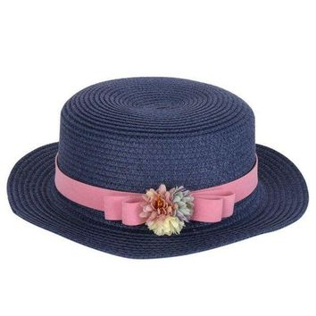 PEAP78W Summer Elegant Floral Hats for Women Ladies Causal Beach Cap Vintage Women's Straw Hat with Bowknot