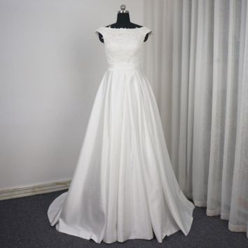 Off Shoulder Satin Beaded Wedding Dress A line Pearl Beading Lace Bridal Gown