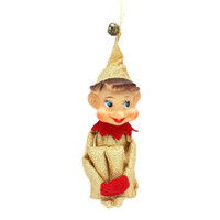 "Gold Knee Hugger Elf 12"" Vintage Christmas Ornament Pixie Metallic Lame Tree Shelf Decorations Retro Kitsch Holiday Decor Made in Japan"