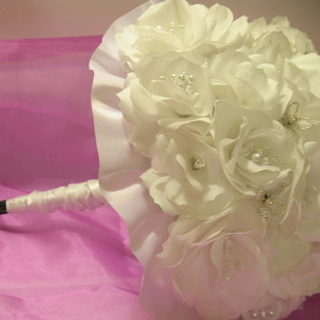HAS TO GO! Ready to Ship.  Handmade Four Piece White Paper Flower Bridal Bouquet/Boutonniere Set