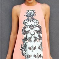 Coral High Neck Front Printed Shift Dress