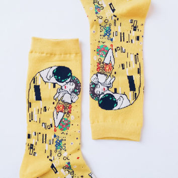 Unisex The Kiss Lovers Painting Art by Symbolist Artist Painter Gustav Klimt Cotton Sock Stocking, Gold Gilded Love Digital Reprint Socks