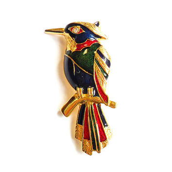 Vintage Enamel Tropical Bird Brooch - Pendant - Broach Pin - Blue Red Green - Gold Tone Metal  - Rhinestone Eye - 1980s Style