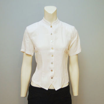 Vintage 1990's White Collarless Button Up Blouse Top Shirt with Mock Turtleneck, Short Sleeves and Shoulder Pads Size Small