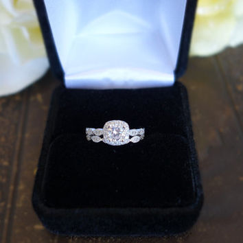 Size 4-11: 3/4 Carat Halo Wedding Set Bridal by TigerGemstones