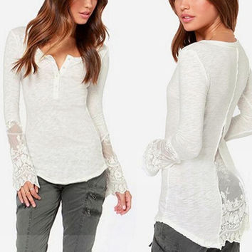 Women's Ladies Sexy Lace Long Sleeve Crewneck Blouse Tops Tshirt Shirt(WhiteSize S-4XL) = 1956769924