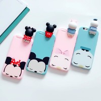 Toys Mickey Minnie Duck Case For iPhone 7 Case Iphone 6 6s 7 Plus Cute 3D Cartoon Soft Silicon Kawaii Squishy Phone Case Coque
